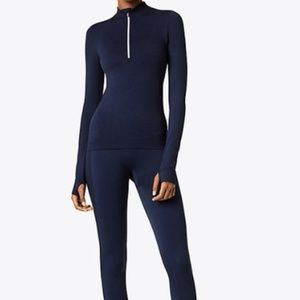 Tory Sport Navy Zip Up Pullover Small